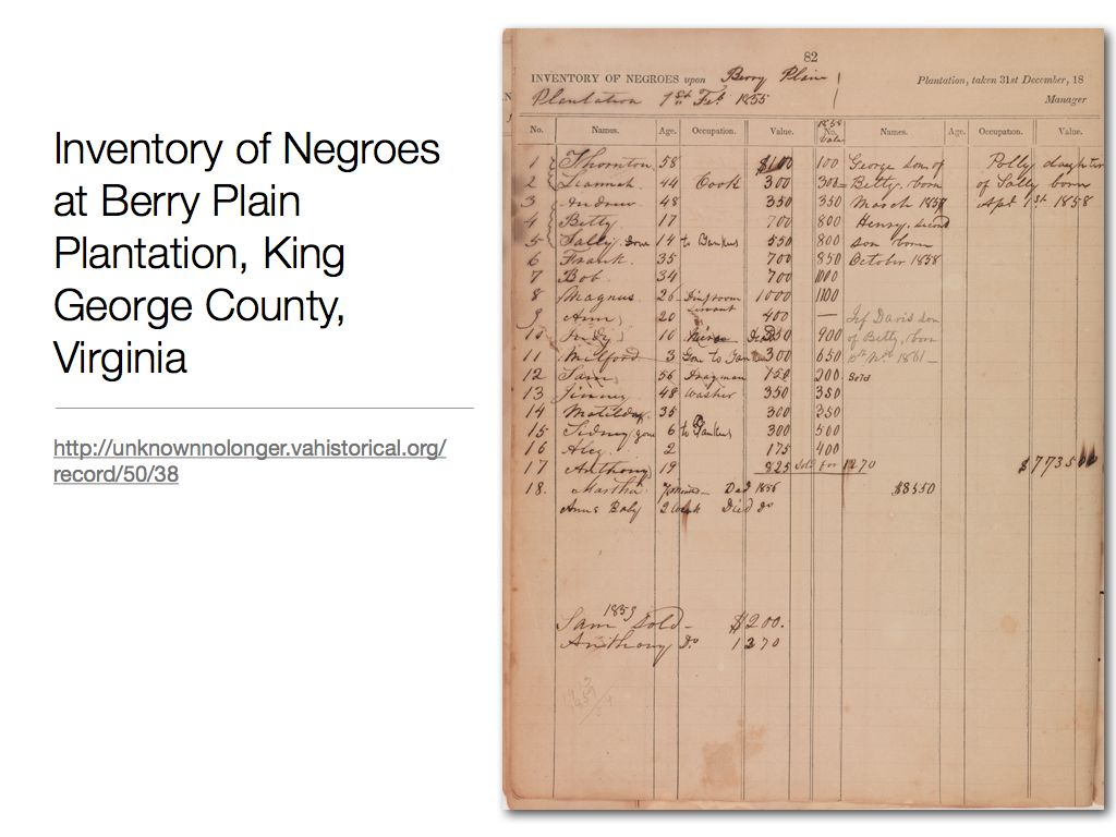 "Image of ledger entitled, ""Inventory of Negroes upon Berry Plain Plantation, 1st Feb 1855"""