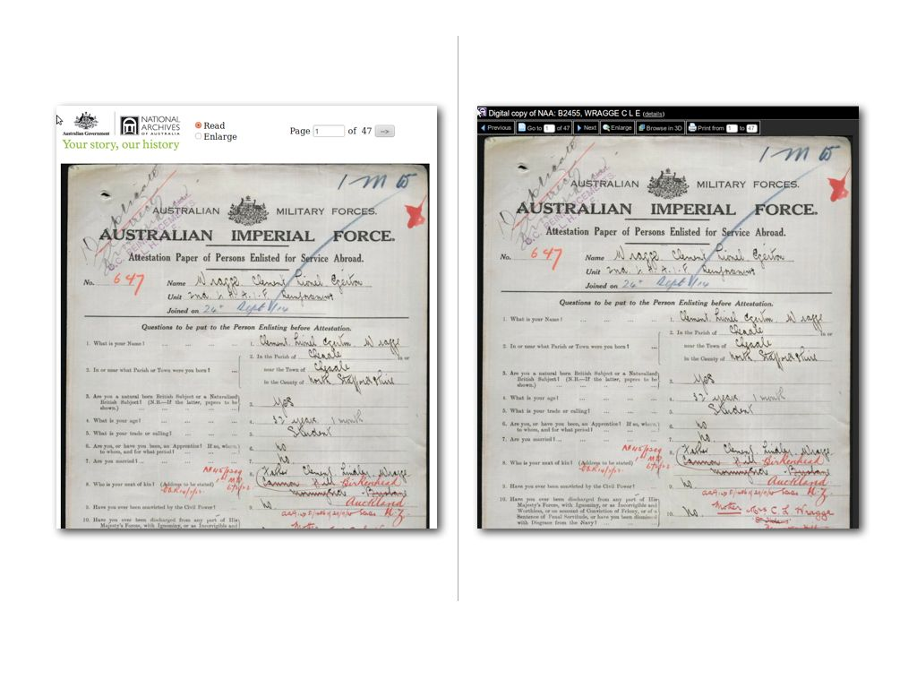 Image of modified interface for accessing the National Archives of Australia files