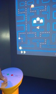 Playing Pacman in the interactive exhibits
