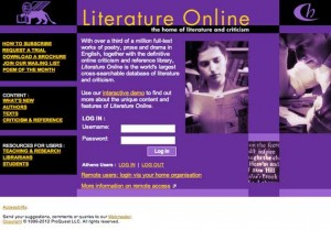 Homepage for Literature Online