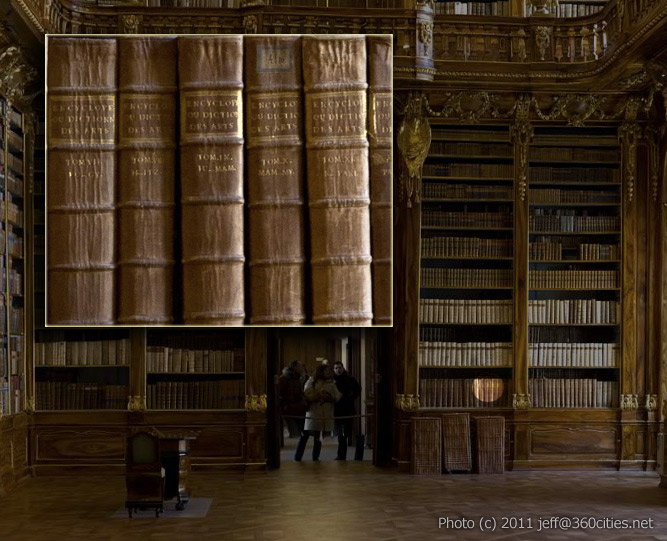 360 degree image of the Strahov Monastery's Library that allows zooming in on particular books