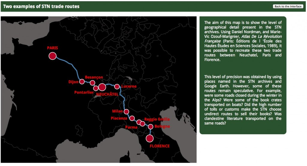 Map of trade routes stretching from Paris to Florence.