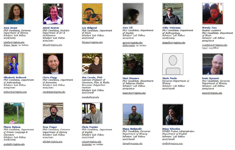 directory images of junior scholars at the Scholars' Lab
