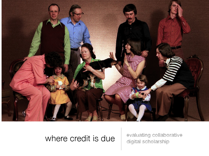 Title Image: Evaluating Collaborative Digital Scholarship. Image of a chaotic family portrait.