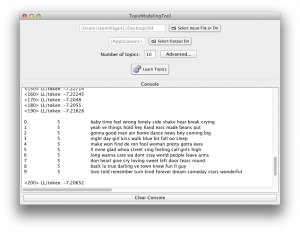 A screenshot of a Java GUI for MALLET.