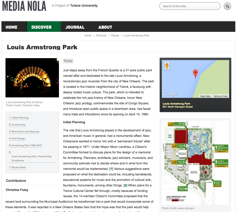 integrating architecture into digital and public humanities sites louis armstrong park