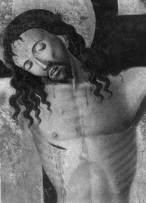 An extreme detail shot of the head of Jesus.