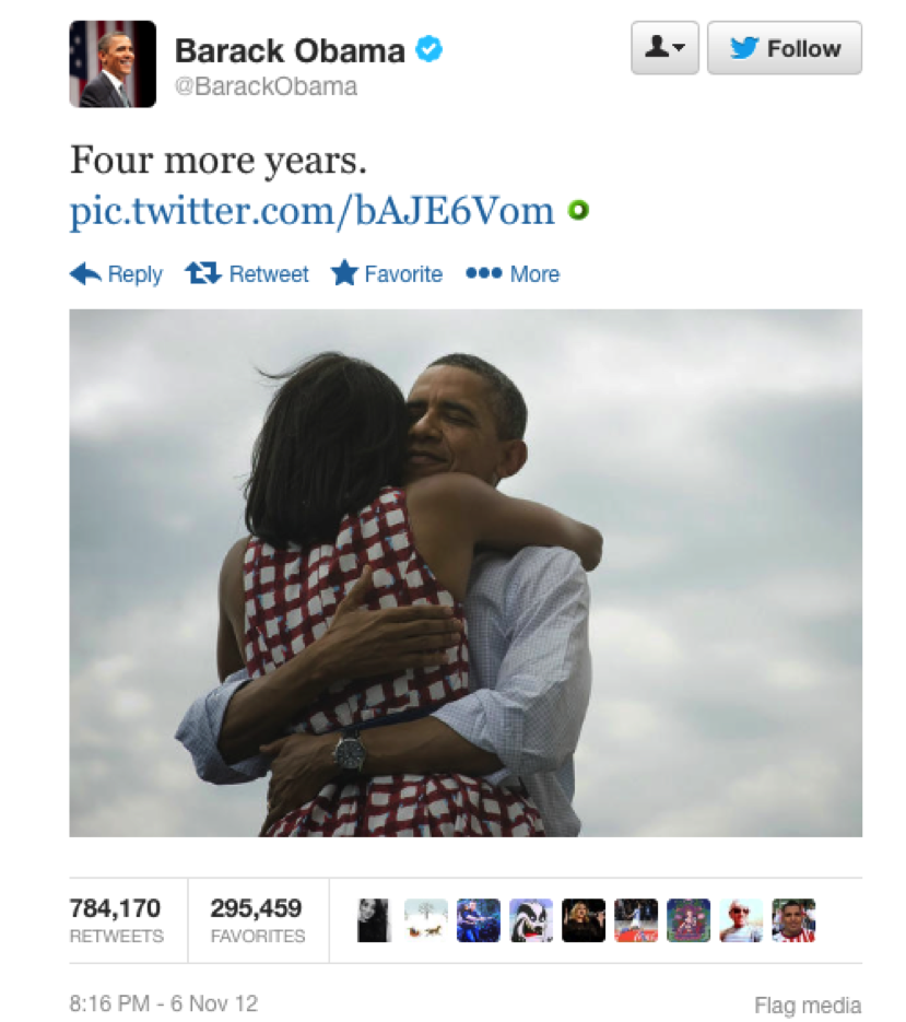 "Figure 1: ""Four More Years"" Tweet Sent by President Barack Obama"