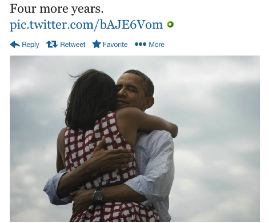 Figure 5: Obama's Tweet Minus Provenancial Metadata